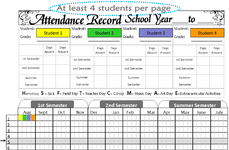 Attendance Chart | Tina's Dynamic Homeschool Plus