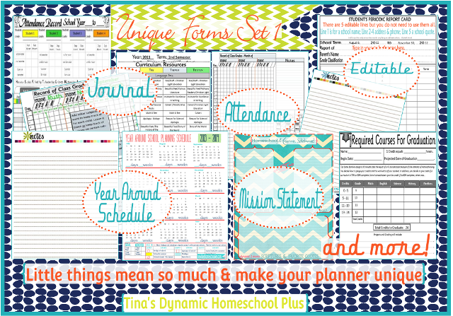 Attendance Forms, Journal Pages, Year Around Schedule | Tina's Dynamic Homeschool Plus
