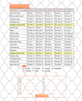 printable 2013 calendar with Holidays and Observances ...