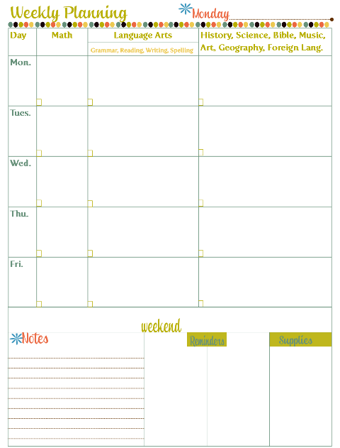Multi Color Homeschool Planning Page
