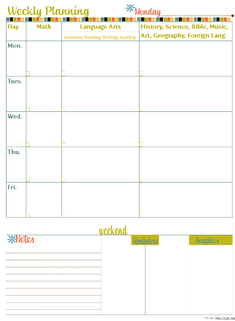 Weekly Planning Page | Tina's Dynamic Homeschool Plus