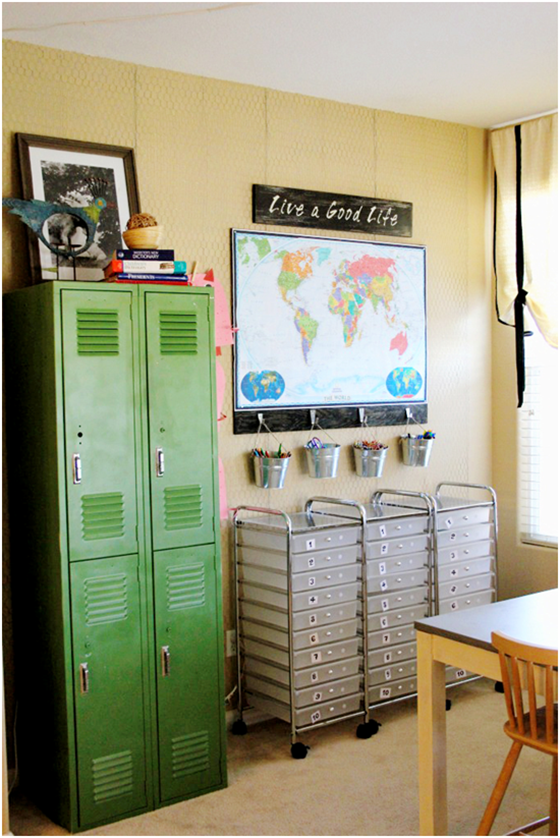 Homeschool room lockers.