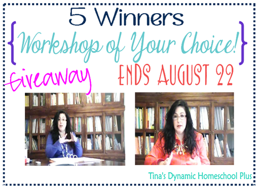 Giveaway for Free Homeschool Workshop @ Tina's Dynamic Homeschool Plus