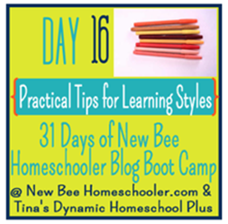 Day 16: Practical Tips for Learning Styles.{31 Day Boot Camp For New Homeschoolers on My Blog}