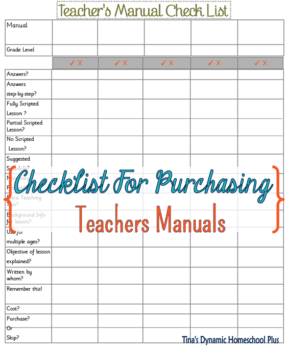teacher's manual checklist @ Tina's Dynamic Homeschool Plus