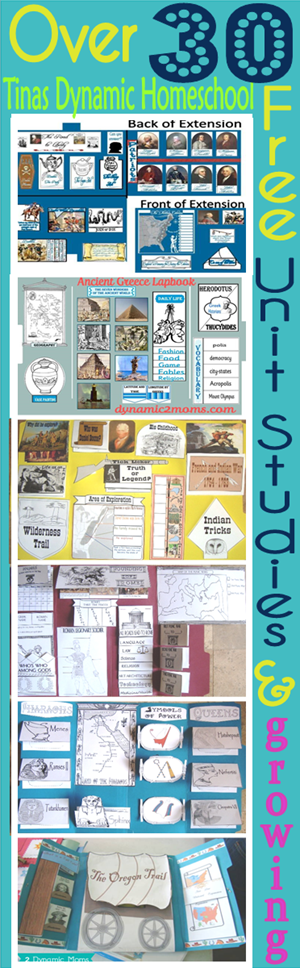 Over 30 Free Unit Studies and growing @ Tina's Dynamic Homeschool Plus
