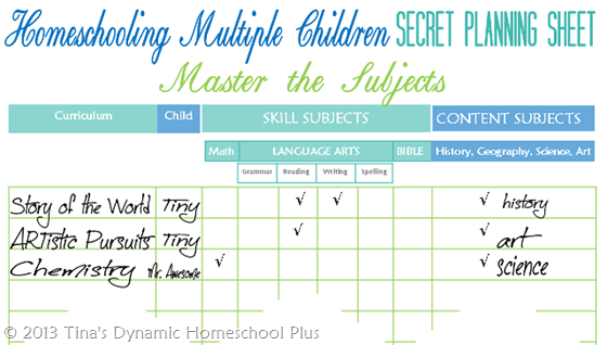 How to Use Homeschooling Multiple Children Secret Planning Sheet Tinas Dynamic Homeschool Plus  5 Days Of The Benefits & Challenges of Teaching Mixed Ages Together – Day 4: Embrace Homeschooling Multiple Grades