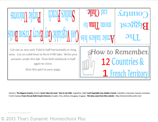 Memorize the Countries of South America at Tina's Dynamic Homeschool Plus