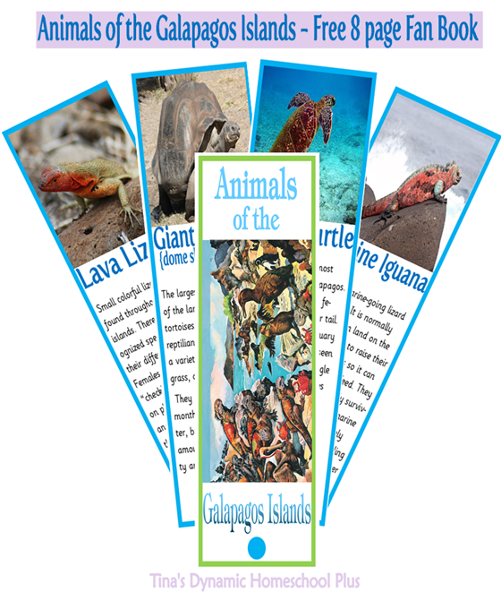 Free 8 page Animals of the Galapagos Islands @ Tinas Dynamic Homeschool Plus